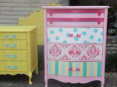 Custom Painted Vintage French Provincial Chest of by TraceysFancy, $820.00    pink stripes damask   blue polka dots   blue green yellow  bedroom storage