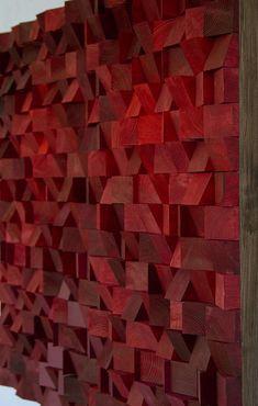 Nieuwe herfst/winter 2017 ontwerpen nu beschikbaar. Houten muur kunst is gemaakt van massief houten blokken - trapezes, snijd in verschillende diepten en geschuurd, allemaal met de hand. Nieuwe ontwerp is volledig hand geschilderd in acryl Monochromatisch kleuren en dek met olie