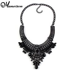 Fashion Black Color Luxury Big Vintage Maxi Chunky Necklaces & pendants Maxi Boho Statement Collar Necklace 2677