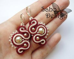 WINE & PEARLS - soutache earrings handmade by SaboDesign. (only now -10% discount in my etsy shop - code GREATSUMMER)