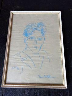 Original Raoul Dufy Crayon Drawing Portrait of Young Jean Cocteau circa 1920 #Fauvism