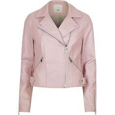 River Island Light pink faux leather biker jacket ($120) ❤ liked on Polyvore featuring outerwear, jackets, coats / jackets, pink, women, light pink jacket, biker jackets, vegan motorcycle jacket, moto jackets and pink moto jacket