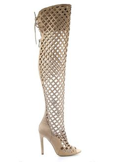Nude Over The Knee Lattice Cutout Boot – KarensClosetNY Over Knee Suede Boots, Above Knee Boots, Thigh High Boots, Lace Up Heels, Shoes Heels, Stiletto Heels, Cute Boots, Fall Shoes, Thigh Highs