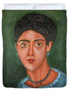 Portrait Duvet Cover featuring the painting Princess Portrait by Grigorios Moraitis