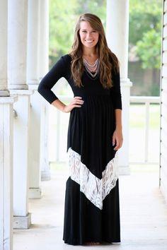 Lace and Grace Longsleeve Maxi Dress- Black www.hazelandolive.com