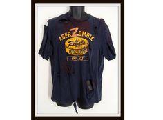 $42.00 Zombie Costume. aberZombie T-Shirt. Custom Made Zombie Shirt. Bloody Abercrombie T-Shirt. Halloween Costume. Zombie Apocalypse. Adult Size M by wardrobetheglobe on Etsy