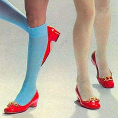 Seventeen Magazine, 1969 wearing knee high socks with dress shoes was the style. You always wore stockings with dress shoes. You never go bare never ha ha times have a changed