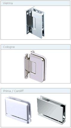 372e6d1887e Hinge Choices - Drexler frameless shower hardware Glass Door Hinges