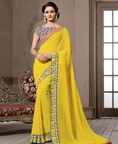 Buy Good Looking Yellow Casual Saree online at  https://www.a1designerwear.com/good-looking-yellow-casual-sarees-10  Price: $35.42 USD