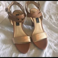 Two Tone STEVEN by Steve Madden Sandal Gorgeous shoes gold and tan and perfect for the summer. Funky geometric heel, ankle wrap around strap with buckle. Only worn to try on. Steven by Steve Madden Shoes Heels