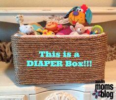 DIY Basket from a Diaper Box: How to Re-purpose a Diaper Box, #AustinMomsBlog