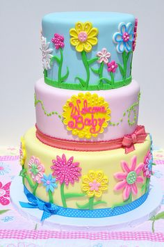 Quilted Flower Baby Shower Cake