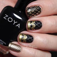 Black & Gold Fishnets and Lace nail art featuring Zoya Willa with Messy Mansion and BornPretty stamping  |  Sassy Shelly