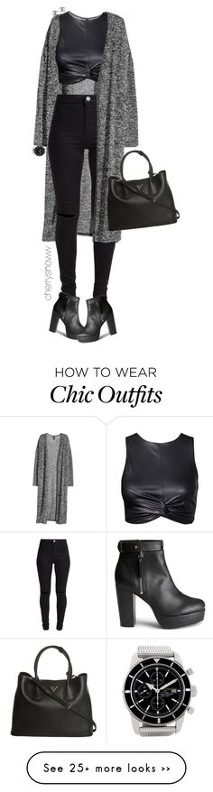 """Grunge chic black fall outfit"" by cherrysnoww on Polyvore featuring H&M, New Look, Breitling, Prada and Chanel"