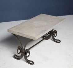 A French patinated heavy wrought iron mid century coffee table with its original stone top in the manner of Gilbert Poillerat Iron Coffee Table, Mid Century Coffee Table, Dining Table Design, Mid Century Furniture, Mid Century Design, Antique Art, Wrought Iron, Stone, The Originals