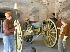 Guided Tours at Fort Point National Historic Site (Canon loading demonstration showing ranger behind cannon and audience helpers)