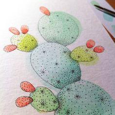 micron dots et aquarelle - watercolor  illustration cactus