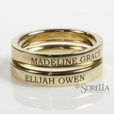 Engraved 3mm Stackable Ring In 14k Gold kids names or birthdates or wedding date