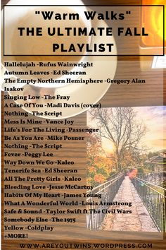 This is YOUR ULTIMATE FALL PLAYLIST, with old songs, more recent songs, popular songs, and my favorite picks. This playlist reminds me of a walk in the fall while wearing a cozy scarf and sipping on a hot latte.