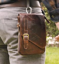 Brown Mens Genuine Leather Pouch Hiking Fanny Waist Belt Hip Pack Cellphone Bags | eBay