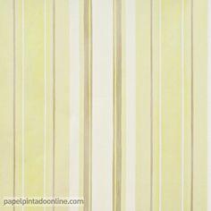 papel pintado infantil babies 10145 con rayas verticales en diferentes grosores y tonos de verde