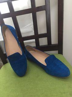 bae681b3aafa0d J. Crew Womens Suede Leather Flats Royal Blue Ballet Shoes Size 7.5
