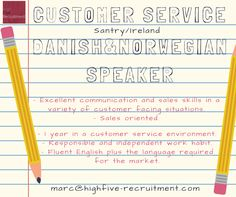Hi everyone =)  We're looking for #Danish & #Norwegian speaker for customer service #job based in #Ireland.  Send your CV (in English) at marc@highfive-recruitment.com  #recruitment #success #potential #hiring #career #customerservicejob #highfiveyourcareer #jobinireland #decision #candidate #business #greatjob #country #place #goodchoice #opportunity #highfiveyourjob