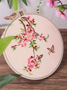 Excited to share the latest addition to my shop: Flower & Birds DIY Embroidery Kit Printed Pattern Linen Hoop Art Home Wall Decor Gift Diy Embroidery Kit, Embroidery On Clothes, Embroidery Flowers Pattern, Simple Embroidery, Hand Embroidery Patterns, Embroidery Stitches, Embroidery Saree, Motif Floral, Tambour