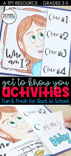 """Fresh get-to-know-you activities for the beginning of the year! Like this """"Who Am I?"""" poster with flip-open clues (great for a back to school bull. Back 2 School, 1st Day Of School, Beginning Of The School Year, Middle School, 4th Grade Classroom, Future Classroom, Classroom Ideas, School Pens, First Day Of School Activities"""