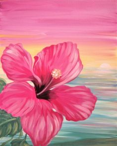 Hawaiian Hibiscus Flower rainbow sunset sky, beginner painting idea. I love this!Paint Nite Events near Somerville, MA