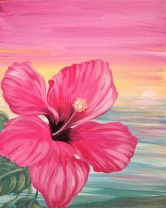 Hawaiian Hibiscus Flower rainbow sunset sky, beginner painting idea. I love this!Paint Nite Events near Somerville, MA