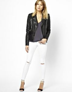 Buy ASOS Ridley High Waist Ultra Skinny Ankle Grazer Jeans in White with Ripped Knees and Raw Hem at ASOS. With free delivery and return options (Ts&Cs apply), online shopping has never been so easy. Get the latest trends with ASOS now. Ripped Knees, Ripped Jeans, White Jeans, Ankle Grazer Jeans, Fashion Online, Latest Trends, Asos, Leather Jacket, Skinny