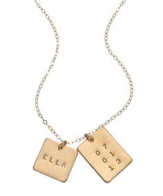 Anna Bee Jewelry Square And Rectangle Name Date Necklace