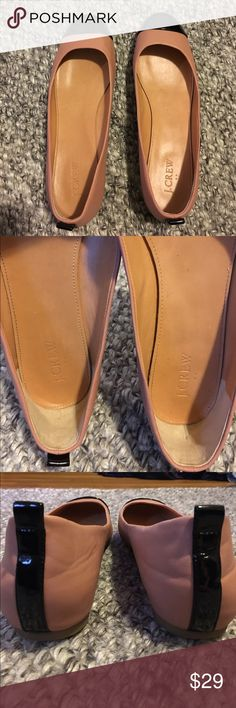J. Crew nude flats Nude flats with black patten detailing at the toe and heal stripe. EUC, worn a handful of times only! Super versatile and comfy. J. Crew Shoes Flats & Loafers