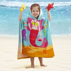Product Image for Kids' Mermaid Velour Hooded Towel in Pink/Blue 1 out of 2