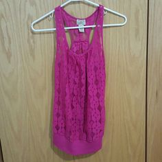 Pink Sheer Tank Top Perfect condition. Closet closed till JULY 20th eyelash couture Tops Tank Tops