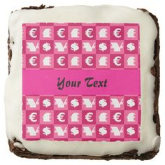 International money currencies signs pattern square brownie