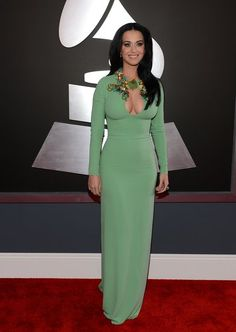 Katy Perry: Katy Perry posed on the Grammys red carpet in a green Gucci gown.