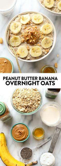 These peanut butter banana overnight oats combine all of your favorite flavors t., These peanut butter banana overnight oats combine all of your favorite flavors t. These peanut butter banana overnight oats combine all of your favo. Healthy Breakfast Recipes, Healthy Snacks, Healthy Breakfasts, Snacks Kids, High Protein Snacks, School Snacks, Eating Healthy, Healthy Drinks, Healthy Recipes