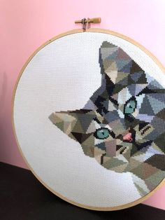 Cat Cross Stitch Pattern PDF for embroidery hoop Geometric Cross Stitch Floss, Cross Stitch Owl, Cross Stitch Geometric, Cat Cross Stitches, Cross Stitch Borders, Cross Stitch Animals, Modern Cross Stitch Patterns, Cross Stitch Charts, Cross Stitching