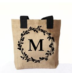 Natural Burlap Tote Bag Personalized Market Totes by AmoreBeaute