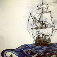 Ship tattoo, above elbow crease with quote, everyone stay calm, we're taking over the ship.
