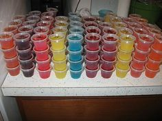 70 DIFFERENT JELLO SHOTS!  1. *JAGER BOMB* boil 1 cup red bull (in place of water), add black cherry or orange jello, 1 cups jager.    2. *MARGARITA* boil 1 cup water, add 3 oz pkg lime jello, 4 oz tequila, 4 oz sweet & sour margarita mix. sprinkle with salt just before firm. (substitue watermelon jello for lime for a melon margarita)    3. *RUM & COKE boil 1 cups coke, mix in dark cherry jello add 1 cups light rum