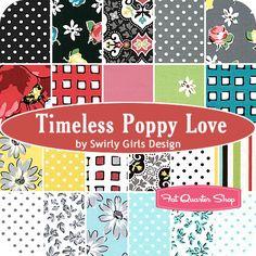 Timeless Poppy Love Fat Quarter Bundle Swirly Girls Design for Michael Miller Fabrics - Fat Quarter Shop