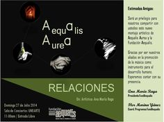 RELACIONES con Aequalis Aurea el domingo 27 en UNEARTE
