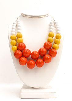 Orange and yellow balls costume jewelry necklace.
