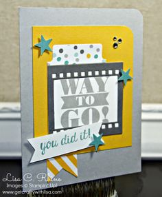 Get Crafty with Lisa:  Bravo Way to Go & Tutorial.  This Bravo Way to Go Card features Stampin' Up!'s Bravo Stamp Set, Moonlight Designer Series Paper Stack, File Tabs Edgelits Dies, and Itty Bitty Accents Punch Pack, by Lisa Rhine, www.getcraftywithlisa.com