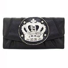 Dasein Rhinestone Crown Sign Tri-fold Wallet - Black Cute Wallets, Tri Fold, Coin Purse, Pouch, Christmas Clothes, Crown, Sign, Handbags, Purses