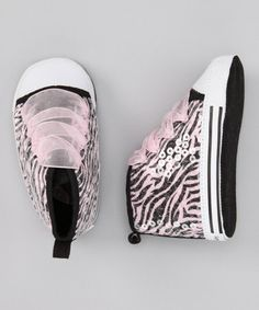 #zulily #fall Take a look at this Pink Zebra Sequin Hi-Top Sneaker by Vitamins Baby on #zulily today!