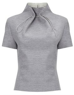 Lee Grey Wool Gathered Neck Top and other apparel, accessories and trends. Browse and shop related looks. Fashion Details, Look Fashion, Diy Fashion, Ideias Fashion, Fashion Design, Short Sleeve Collared Shirts, Collar Shirts, Short Sleeve Blouse, Collar Blouse